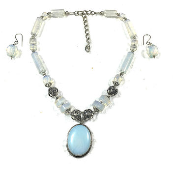 Mogul Indian Necklace Earrings Sets Moonstone Artisan Jewelry 'Moon Goddess Charm'