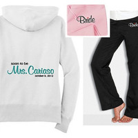 Soon to be Future Mrs. Bride Sweatshirt and Sweatpants set Hoodie Hooded Embroidered Bridal