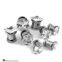 "Clear CZ Gem Diamond Stud Plugs (8G - 1/2"") Sold In Pairs 