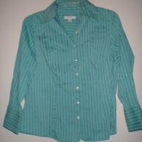 Women's Plus Size MERONA Turquoise Striped Button Front Top Shirt Size 16W