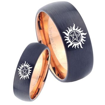 His Hers Supernatural Dome Tungsten Rose Gold Mens Promise Ring Set