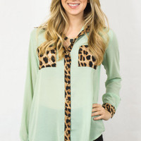 Mint Blouse With Leopard Print Detail