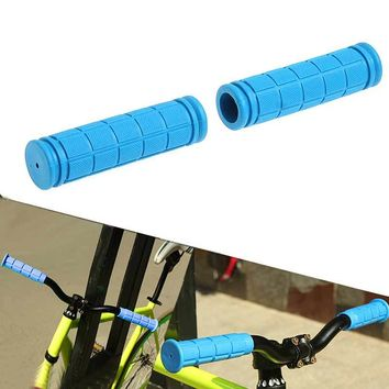 1 Pair Bicycle Handlebar Grips Soft Rubber Cycling BMX MTB Mountain Bike Scooter Fixed Gear Bar End Parts Accessory Tool ALS88