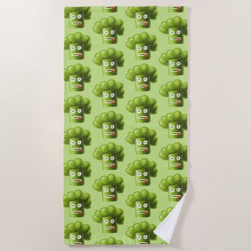 Green Funny Cartoon Broccoli Pattern Beach Towel