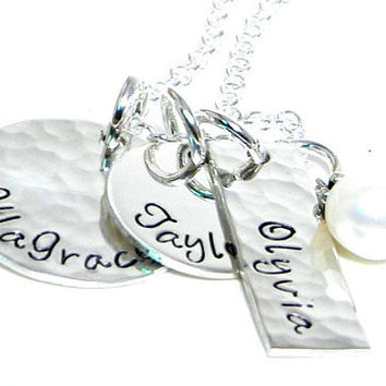 Personalized Mom Necklace - Mommy Jewelry - Hand Stamped Sterling Silver