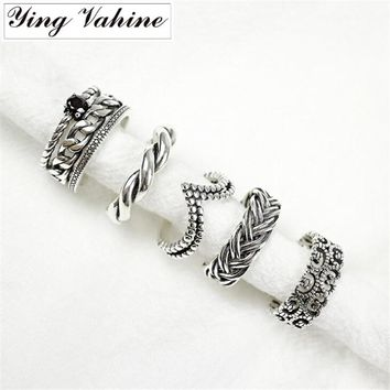 ying Vahine New Authentic 925 Sterling Silver Jewelry Vintage Carved Design V Shape Design Twisted Open Rings for Women