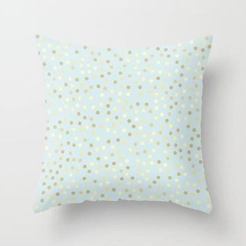 Pastel Blue Gold Polka Dots Throw Pillow, Baby Blue Accent Pillow, Light Blue Pillow, Blue Bedroom Decor, Pastel Blue Square Throw Pillow