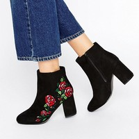 ASOS RULE Embroidered Ankle Boots at asos.com