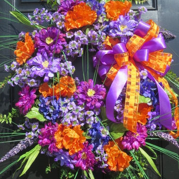 Spring Summer Door Wreath, Spring Summer Wreath, Luxury Wreath, Door Wreath, Wreath for Front Door, Bright Orange Purple Colors