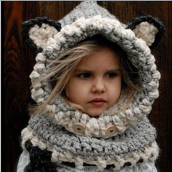 Kids Crochet Hooded Cowl Handmade Cute Cartoon Fox Animal Winter Hat Beanies Warm for Boys and Girls