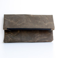 Waxed Canvas Clutch - Foldover Purse - Field Tan