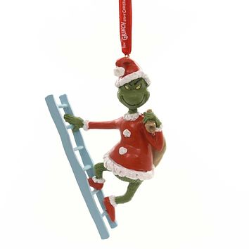 Holiday Ornaments GRINCH ON LADDER Polyresin Dr Seuss Department 56 6000305