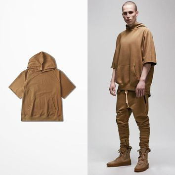 Hooded Solid Color Mens short sleeve hoodies 2017 New Fashion Hip Hop Sweatshirts Oversize Sportwear men Casual Workout Hoodie