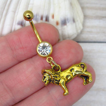 Antique gold lion belly button rings , lion belly button ring,  navel piercing, belly button ring jewelry,unique gift