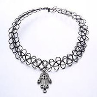 Black Tattoo Choker with Hamsa
