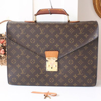 Louis Vuitton briefcase  Monogram Authentic Vintage Handbag Purse