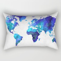 World Map 17 - Blue Art By Sharon Cummings Rectangular Pillow by Sharon Cummings | Society6