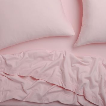 Super Soft T-Shirt Jersey Sheet Set - Light Pink