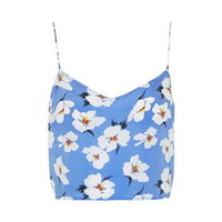 Takashi Floral Print Crop Top by Boutique - Blue