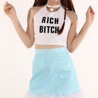 Glitters For Dinner — Made To Order - Michelle Blue Glitter Skirt with White Faux Fur