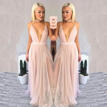 Halter Pleated Skirt Chiffon Beach Dress V-Neck Pure Color Sling One-piece Dress Pink