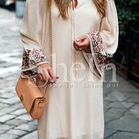Apricot Long Sleeve Off The Shoulder Embroidered Dress -SheIn(Sheinside)