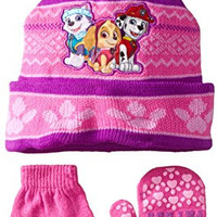 Nickelodeon Little Girls' Paw Patrol Pals Cuff Hat and Mitten Set, Pink, One Size