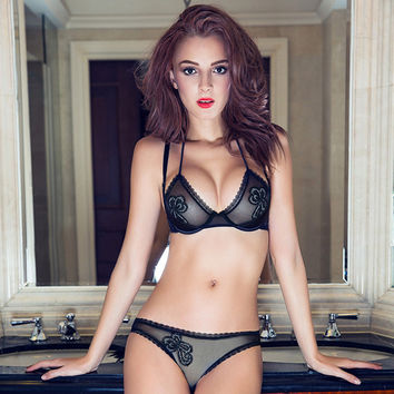 On sale push up bra Pure Black lace bra and panties sets BC cup transparent women sexy underwear lingerie set free shipping