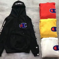 BAPE x CHAMPION PULLOVER  HOODIE Embroider Big Logo Long Sleeve Sweater G -CN-CFPFGYS