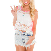 Maryland Lace Crop Top - Neon Pink