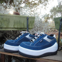 Candies 90's Platform Sneakers Navy White Chunky Shoes- Like New