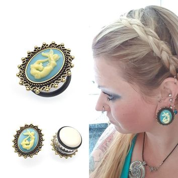 Womens Blue Aqua Mermaid Cameo Vintage Oval Steel Enamel Plugs 11-25mm 1Pair