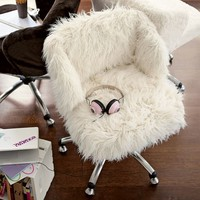 Ivory Furlicious Wingback Desk Chair