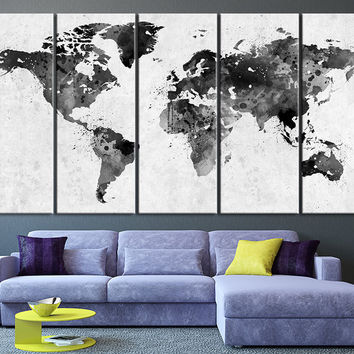 Black White World Map Wall Art, Watercolor World Map Canvas Art Wall Decor No:044