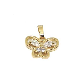 (1-2245-h7-1) Gold Overlay CZ Butterfly Pendant.