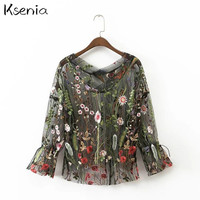 Ksenia Blouses Shirts 2017 new Floral Embroidery  Casual  women sexy blouses  tops fashion summer mujer blusa blusas