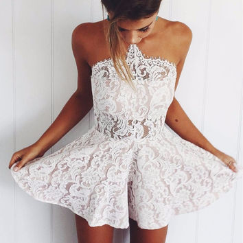 Halter Embroidery Romper Jumpsuit