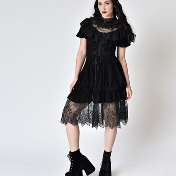 Victorian Style Black Lace & Velvet High Collar Short Sleeve Dress