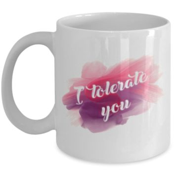 I Tolerate You Coffee Mug, Novelty Gag Gifts for Friends, Cool Birthday Gift, 11oz