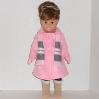 American Girl Doll Clothes Pink Fleece Dress Coat with Mittens and Striped Scarf