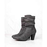 Sassy Scrunched Ankle Boots in Charcoal Suede