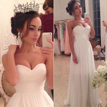 Cheap Long Simple Beach Wedding Dresses Boho 2017 A Line Lace Up White Ivory Wedding Gowns Simple Chiffon Bridal Gown Plus Size