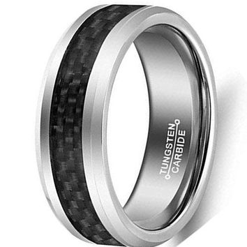 CERTIFIED 8mm Silver Tungsten Carbide Ring Vintage Wedding Jewelry Black Carbon Fiber Inlay Engagement Promise Band