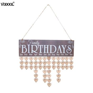 Wooden Calendar Board Family Friends Special Dates Sign Calendar Birthday Mark Planner Home Wall Hanging Decor Gift Reminder