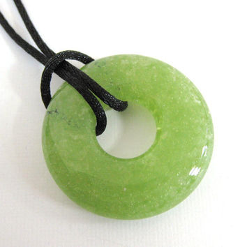 Glass Necklace, Olive Green Donut Fused Glass Necklace - Appletini - 3877