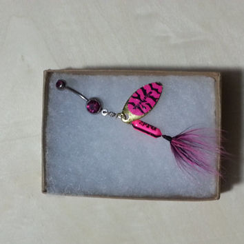 Hot pink and Black Tiger Rooster Tail Fishing Lure Navel Belly Button Ring For Fishing Country Girl