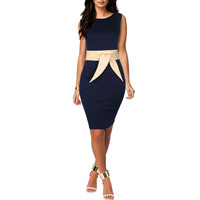 WOMENS PEPLUM BUSINESS PENCIL BODYCON CASUAL COCKTAIL DRESSES