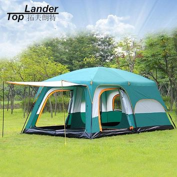 Large Tent Family Waterproof Double Layer 8 10 12 Person Cabin Tent Two Living Rooms Luxury Camping Marquee Tents