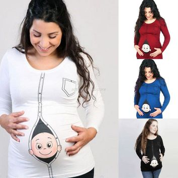 Maternity Baby Peeking Shirt Funny Pregnancy Cute Announcement Pregnant T-shirts