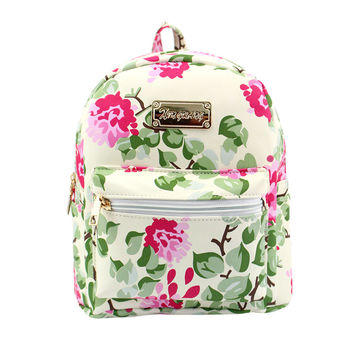 NewNew Arrival Women Leather Flower Printing Backpack School Bags Travel Backpacks Backpack for teenager Girls